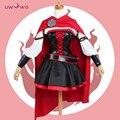 Rwby rubi rose cosplay 3 temporada red dress manto uwowo batalha uniforme traje 2017 novo!