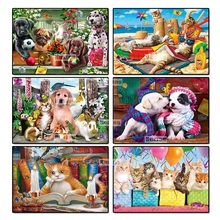Ruxing 5D Diamond Mosaic Color Dog cat Painting Cross Stitch Kits Diamonds Embroidery Home Decoration