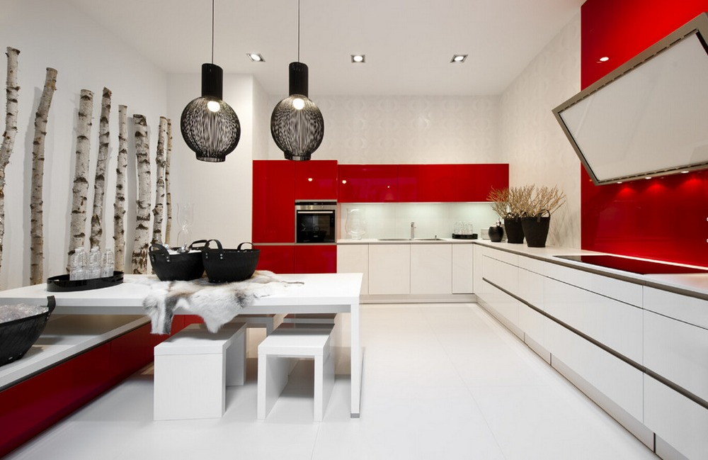 2017 New Design Design High Gloss Lacquer Kitchen Cabinets Red Color Modern  2PAC Kitchen Furnitures L1606088