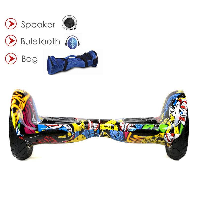 Hoverboard 10 pouces 2 roues smart auto balance scooter électrique avec roue de gonflage planche à roulettes intelligente debout dérive hoverboard