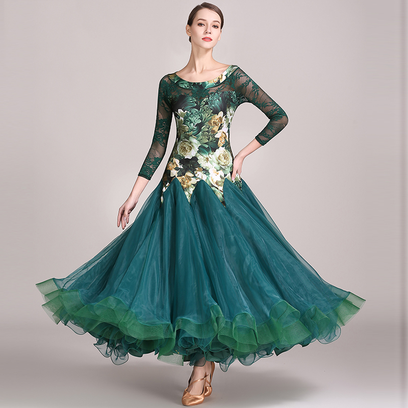 Ballroom Dance Dresses Women Long Sleeve Lace Print Flamenco Waltz Competition Ballroom Dancing Dress Modern Led Costumes DN1594