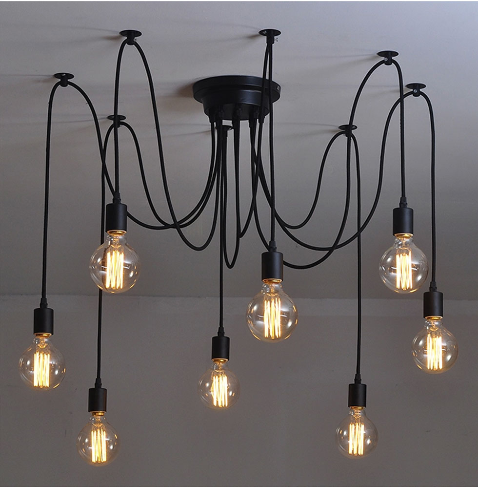 Creative black spider living room chandelier dining room pendant lamb bedroom chandelier E27 a1 clothing store dining room bedroom spider the heavenly maids scatter blossoms creative person pendant lights