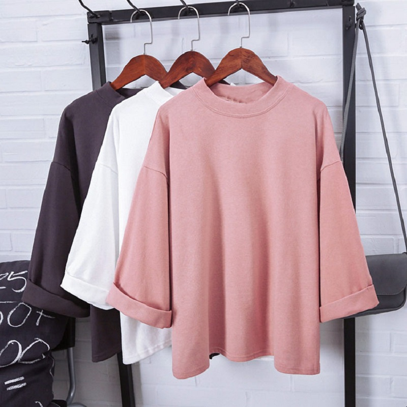 Summer T-Shirt Bottoming Tee-Tops O-Neck Loose short-Sleeved Women for Wild Pure-Color