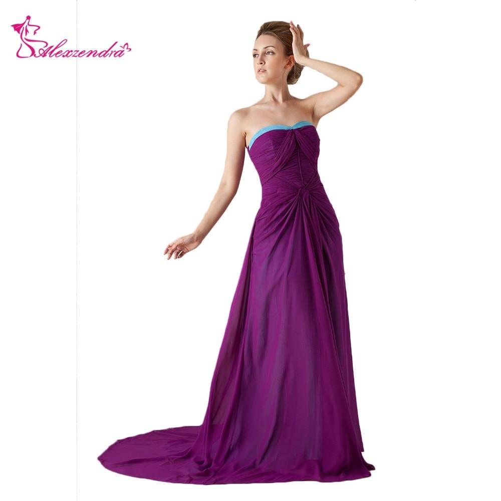 Alexzendra Purple Chiffon A Line   Prom     Dresses   2018 Strapless Simple Long Formal Evening   Dress   Party   Dresses   Plus Size