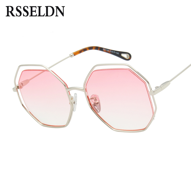 Rsseldn Fashion Octagon Kacamata Hitam Wanita Terlalu Besar Gradien Lensa  Logam Coklat Pink Vintage Berjemur Kacamata 83fa9efb11