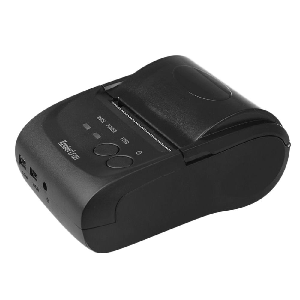 58mm Portable Bluetooth 4.0 Wireless Receipt Thermal Printer USB Interface For Android PC Black US Plug