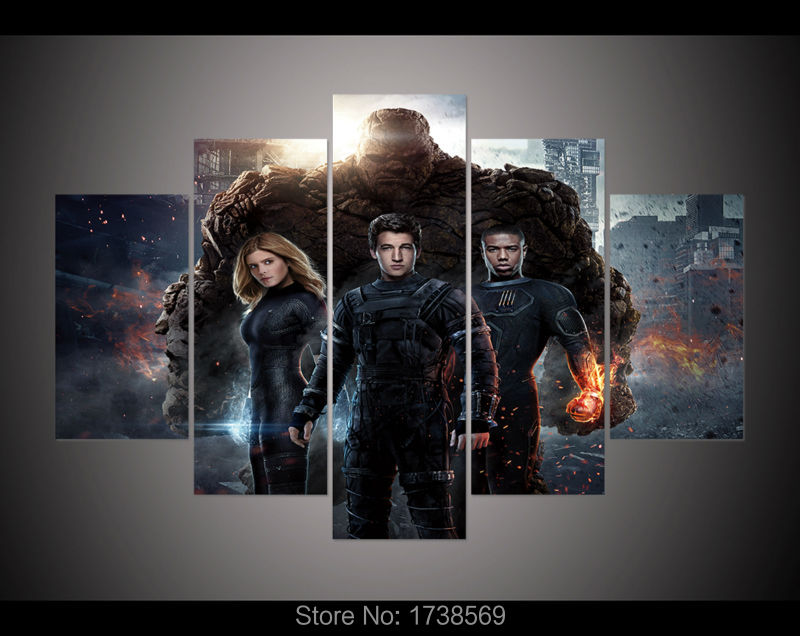 5 panel Modern home decoration wall art picture for living room Fantstic four Movie poster canvas print painting on canvas F0288
