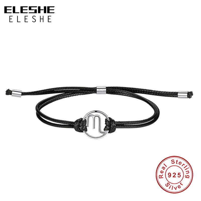 ELESHE בציר 925 כסף סטרלינג צמידי שחור עור מזל בתולה כוכב סימן גלגל המזלות צמיד נשים גברים תכשיטים