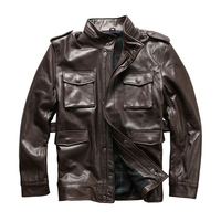 european big size Army overcoat genuine leather clothing M65 outerwear cow leather jacket mens cowhide leather rider jacket 2123