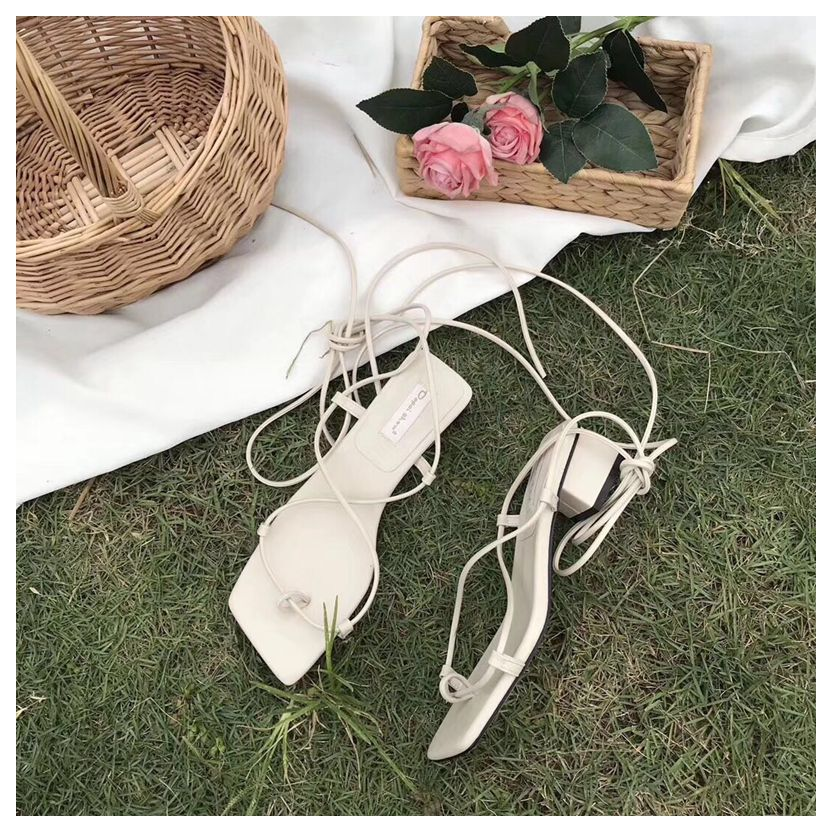 HTB1gqYybf1H3KVjSZFBq6zSMXXa4 New Fashion Women Sandals Low Heel Lace Up sandal Back Strap Summer Shoes Gladiator Casual Sandal Narrow Band zapatos mujer Shoe