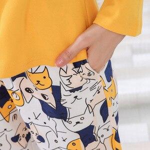 Image 3 - Yidanna Delle Donne Pajamas Set Sveglio di Sonno Del Fumetto di Abbigliamento A Maniche Lunghe di Autunno Degli Indumenti Da Notte casual Femminile Indumenti Da Letto Della Signora Cotone Nighty