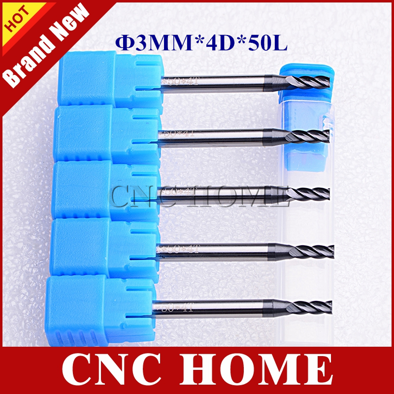 Frese 5pcs 3mm 4 Flutes Tungsten Carbide End Mill Cutter HRC55 AlTiN Coating CNC