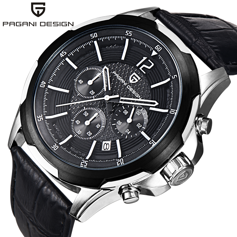PAGANI DESIGN Fashion Men Chronograph Sports Watches Men Luxury Brand Big Dial Quartz Watch Relogio Masculino 2017 Clock Men 2016 relogio masculino watches men luxury brand pagani genuine leather quartz watch multifunctional fashion men s sports clock