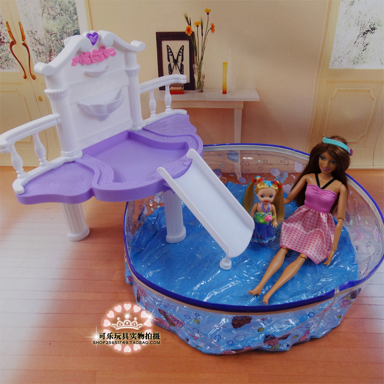 Doll 39 s swimming pool set dollhouse fashion furniture baby toy accessories decoration original for Barbie doll house with swimming pool