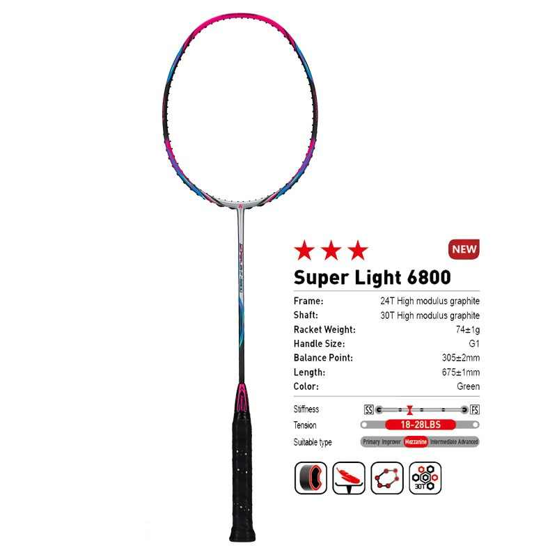 Kawasaki Brand 2018 Attack Type Badminton Rackets 6U Carbon Firber Badminton Racquet For Intermediate Players Super Light 6800