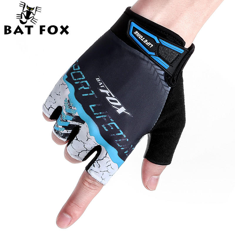 BATFOX Cycling Gloves Outdoor Sports Unisex Half Finger Gloves Mountain Road Bike Equipment Professional Bicycle Gloves