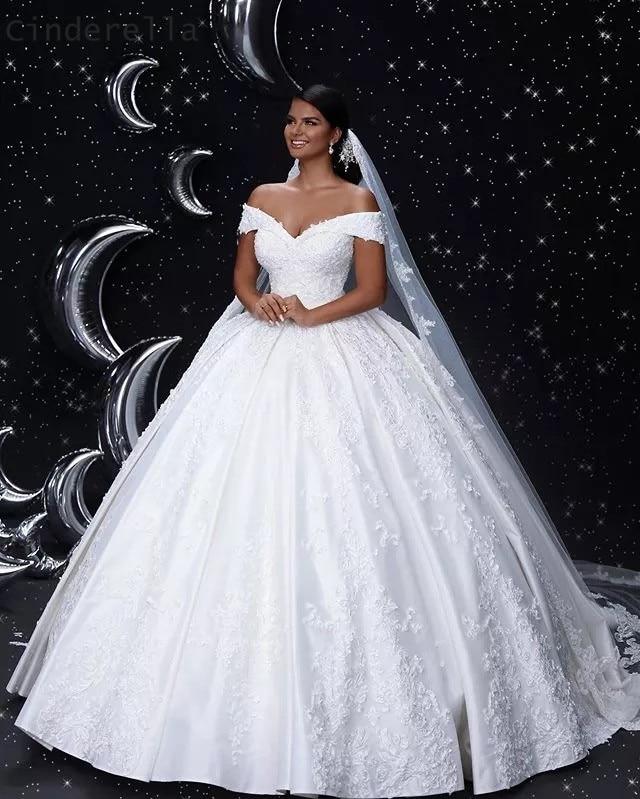 Cinderella V-Neck Off The Shoulder Lace Up Back Lace Applique Crystal Beaded Satin Ball Gown Wedding Dresses Bridal Dresses