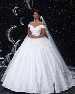 Image 1 - シンデレラ V ネックオフショルダーレースアップバックレースアップリケクリスタルビーズサテン夜会服のウェディングドレスブライダルドレス