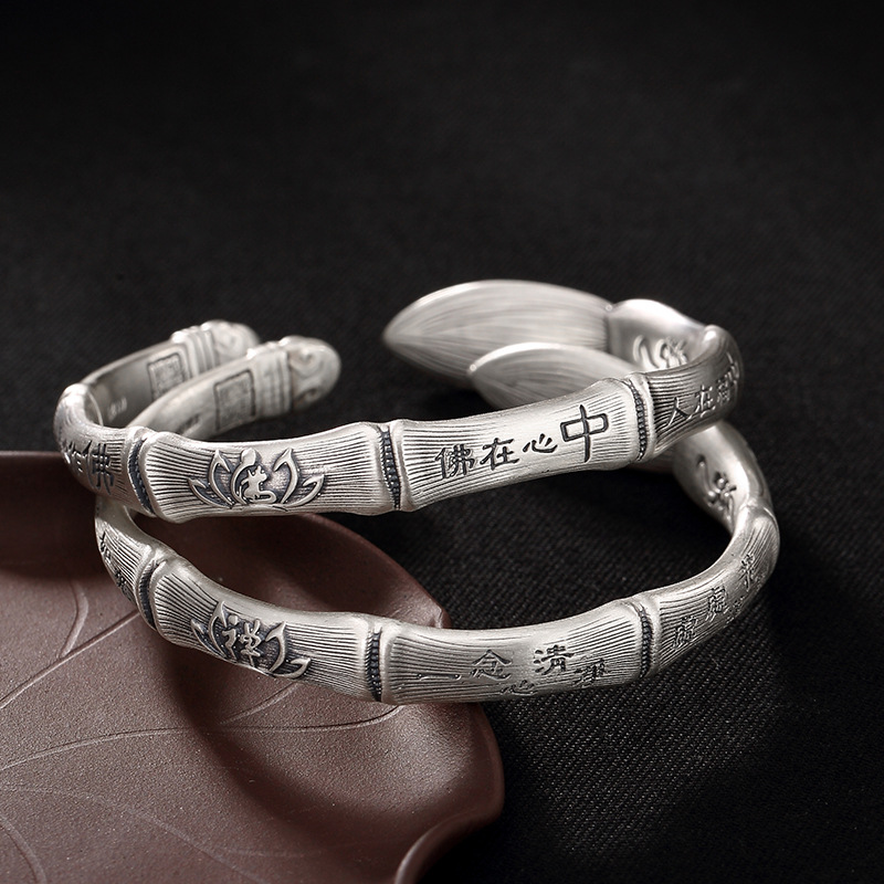 2018 Fashion, Silver, S999, Pure Silver, Antique Bamboo, Brush, Buddha, Heart, Zen, Lotus Flower, Lady, And Silver Bracelet.