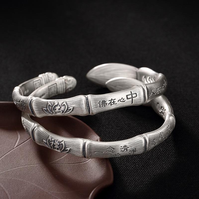Здесь продается  2018 Fashion, Silver, S999, Pure Silver, Antique Bamboo, Brush, Buddha, Heart, Zen, Lotus Flower, Lady, And Silver Bracelet.  Ювелирные изделия и часы