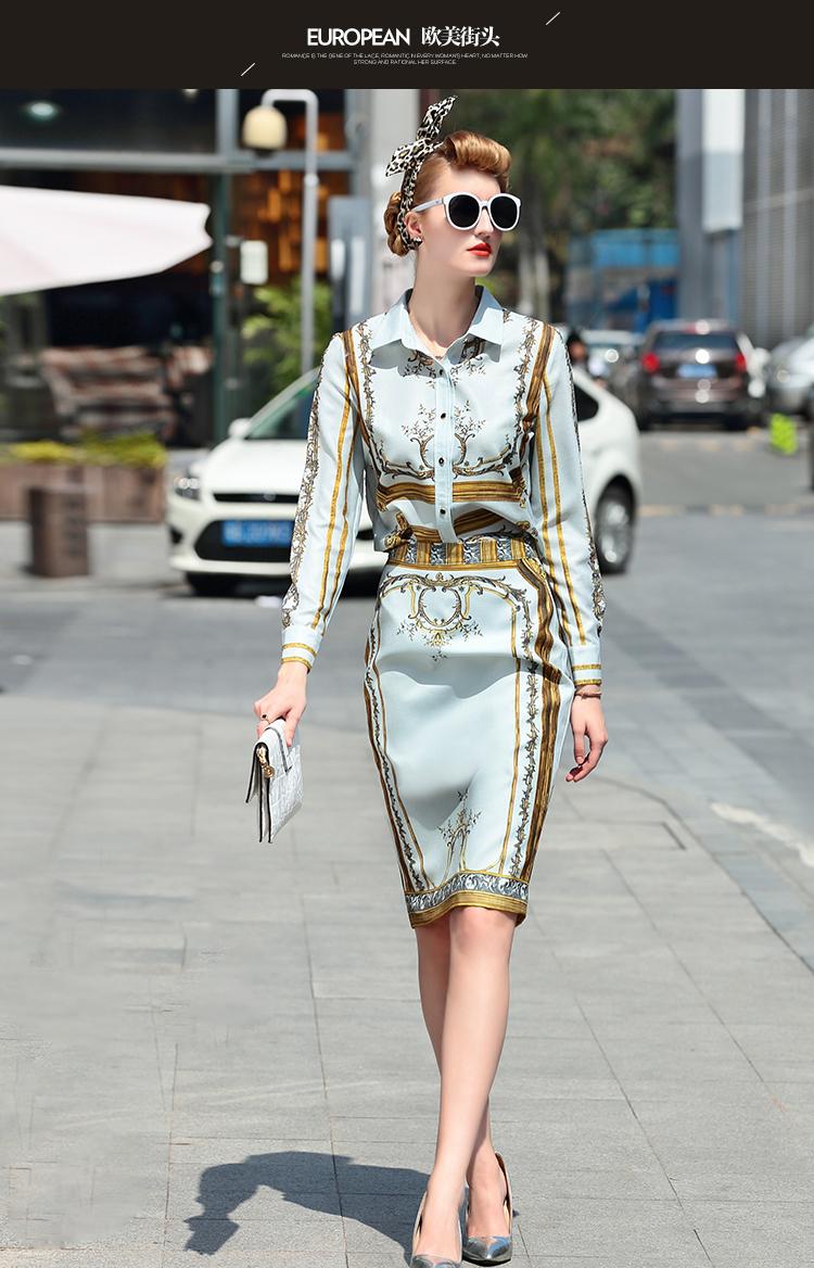 Designer Runway Suit Set Women's Sets Long Sleeve Shirt Tops + Print Skirt suit 2 Two piece set 1