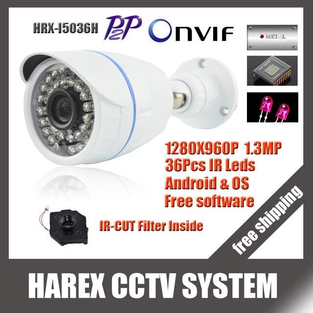 1280*960 P 1.3mp 36 шт. ИК Мини Пуля IP Камера ONVIF Водонепроницаемый Открытый ИК Ночное видение ip cctv камера, бесплатная доставка