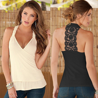 Charming Summer Women Tops Halter Neck Strapless Tank Sexy Backless Lace Stitching Vest Hot Plus Size