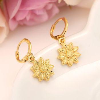 Pendientes colgantes de flor rellenos de oro fino sólido de 24K para mujer/niña, joyería de moda de amor para regalo Africano/Árabe/Oriente Medio