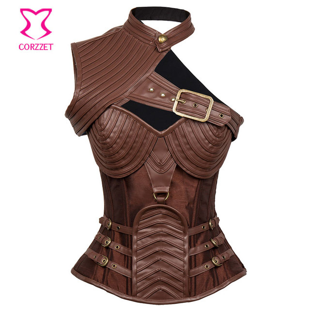 Brown Steampunk Armor Corset Top with Shoulder Bolero Halloween Costumes  Corsets And Bustiers Burlesque Korsett For 0e3f737428