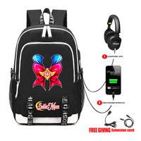 USB Charge Headphone jack School Bags Pocketbook Travel Bags Laptop packsack for anime Sailor Moon Backpack 7 style