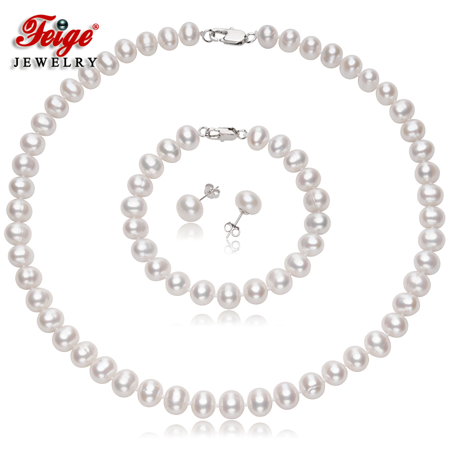 FEIGE 8-9mm orbicular White Natural Freshwater Pearl Necklaces For Womens 925 Sterling Silver Earring  Bracelets Jewelry setsFEIGE 8-9mm orbicular White Natural Freshwater Pearl Necklaces For Womens 925 Sterling Silver Earring  Bracelets Jewelry sets