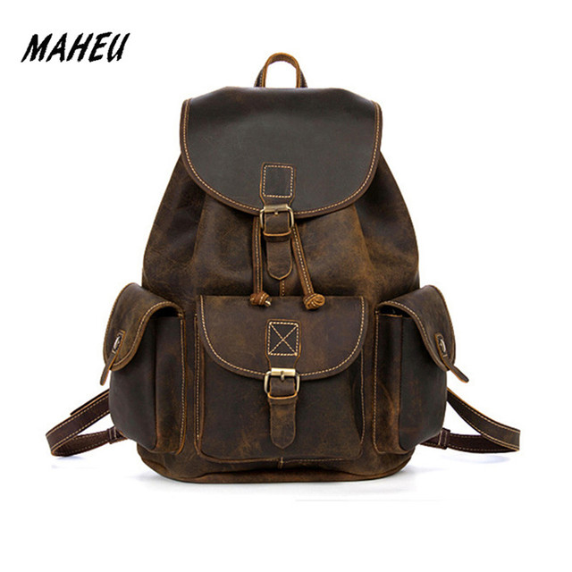 Men s Crazy Horse Genuine Leather Backpack Vintage Handmade Purse Male  Retro Rucksack Large Classic Fashion Travel Backpack c5adea3b0def9