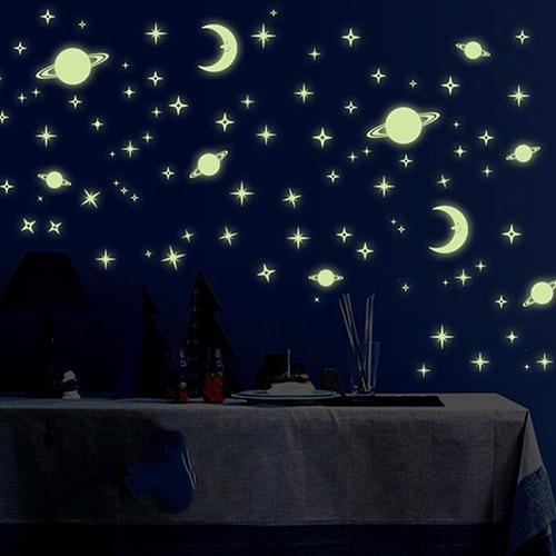 Creative Night Dark Luminous Space Planets Pattern Wall Stickers Bedroom Decor