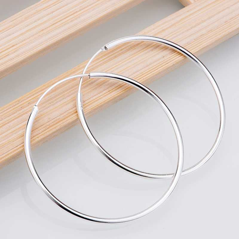 circular smooth shining  silver plated earrings 925 jewelry for women silver earrings RAYPIHMP