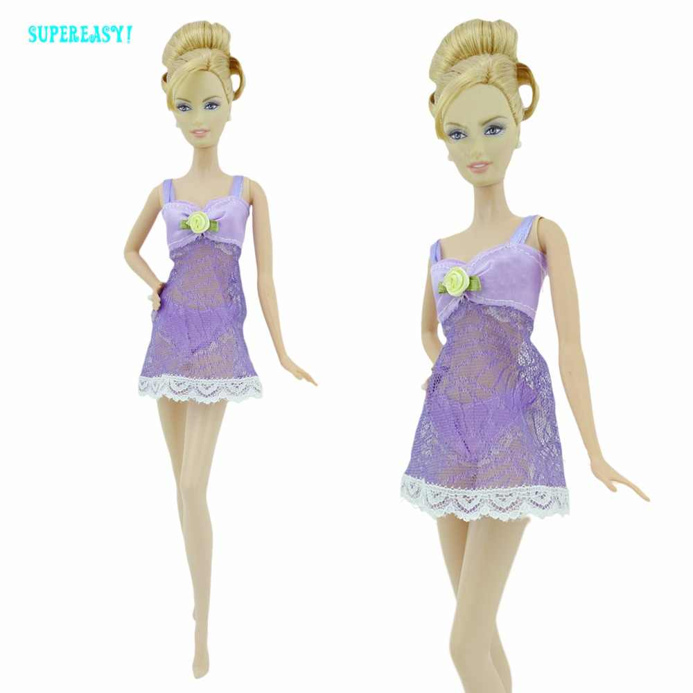 Miễn phí vận chuyển Tím Gợi Cảm Bộ Đồ Ngủ Quần Lót Váy Ngủ Ren Đêm Đầm + Áo Bra + Quần Lót Quần Áo Cho Búp Bê Barbie Váy Quần Áo