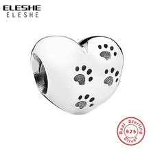 925 Sterling Silver My Sweet Pet Paw Print Heart Bead Charm Fit Original Pandora Bracelet Necklace Accessories Jewelry Making