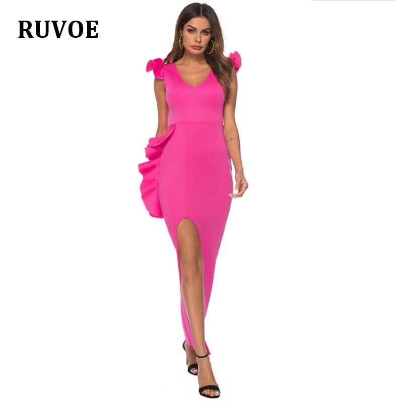 Femmes rose Slim robe haute fente couches volants moulante dîner soirée robes sans manches 2019 printemps été robe EN-196
