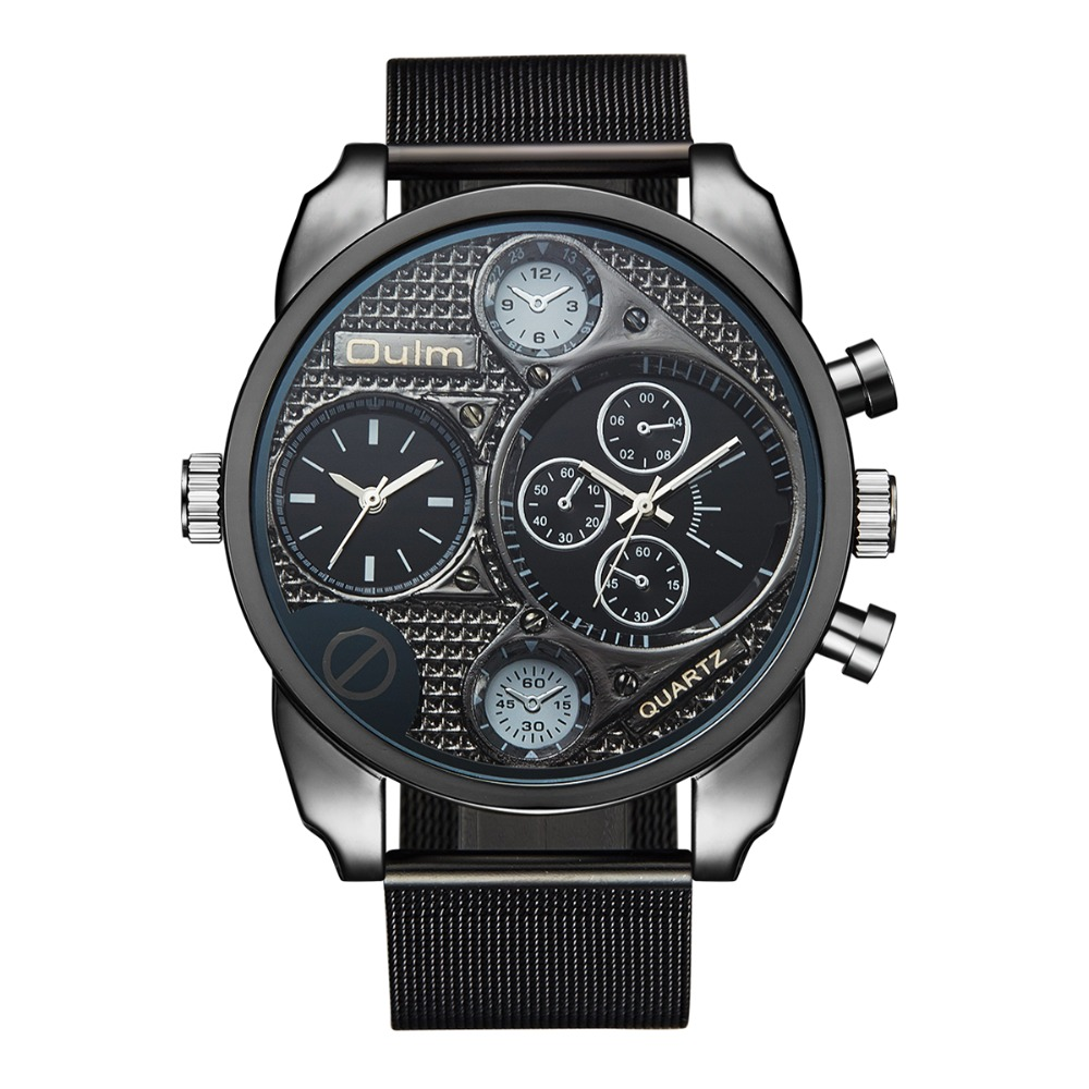 Oulm 9316 Weave Stainless Steel Band Men Wristwatch Multi Time Zone Watches Sport Net Watch