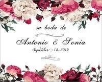 Özel adı ve tarih mor Çiçek duvar düğün photocall boda zemin