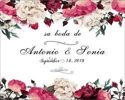 Niestandardowe nazwa i data fioletowy kwiat wall ślubne photocall boda tło