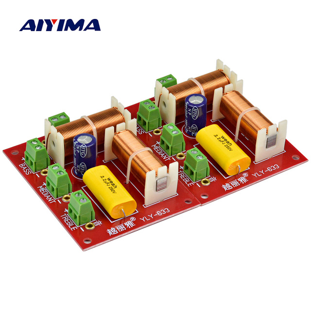 AIYIMA 2Pcs 200W Audio Speaker Frequency Divider 3 Way Crossover Treble Midrange Bass Independent Crossover Speakers Filter DIY