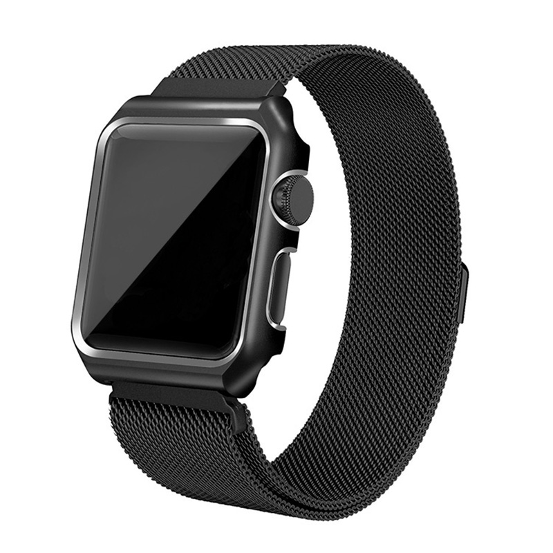Lxsmart Milanese Loop Strap Stainless Steel band Protective shell For Apple Watch 38 42mm box Bracelet iwatch 1 2 3 metal case idg for apple watch 1 2 3 stainless steel milanese strap metal loop wrist band 38 bracelet 42mm watch protective case box frame