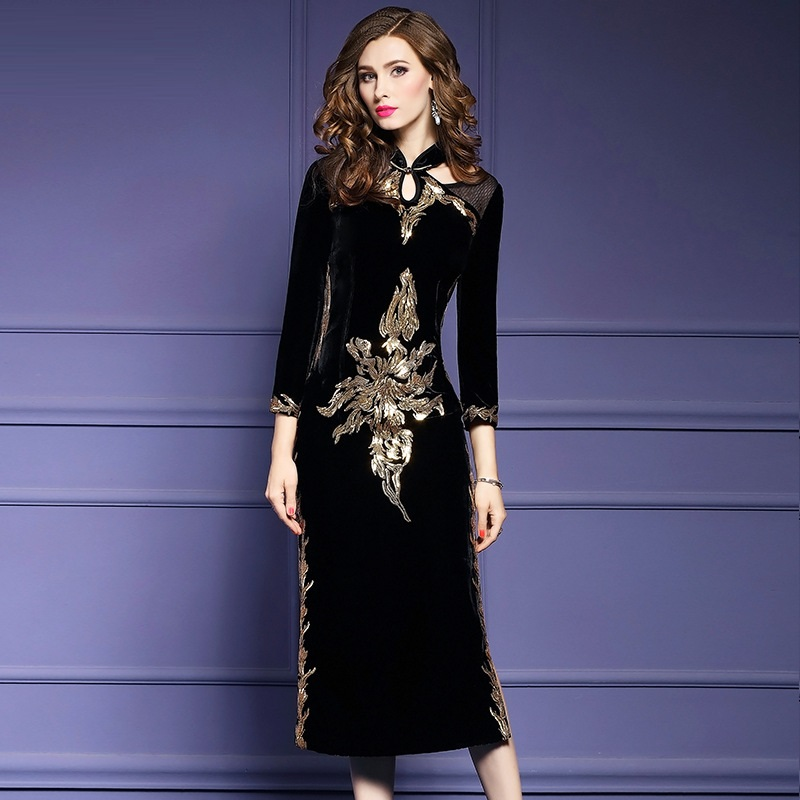 Cheongsam 3xl Broderie Dames Chinois Taille Femmes Vêtements Hiver De Grande Style Robe Automne 2018 Longue Soirée Vintage Robes Noir q5ASA