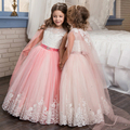 Fancy Flower Girl Dresses Lace Appliques Ruffles Beading Lace Up Little Girl Bridesmaid Wedding Dresses Trailer Tulle Ball Gowns