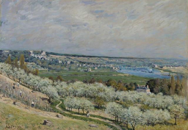 9 03 Aifred Sisley La Terraza En Saint Germain Primavera Wells Decoración Del Hogar Imagen Enorme Pintura Compradores Del Arte Clásico De Fondo De