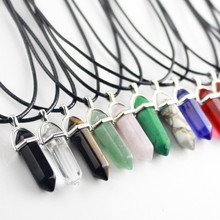 Hexagonal Column Necklaces Natural Crystal Pendants Pink Purple Stone Pendant Leather Chains Necklace For Women Fashion Jewelry