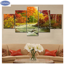 "5pcs/set,Full Square Drill 5D DIY Diamond Painting ""autumn Landscape"" Multi picture Combination 3D Embroidery Mosaic Decor"