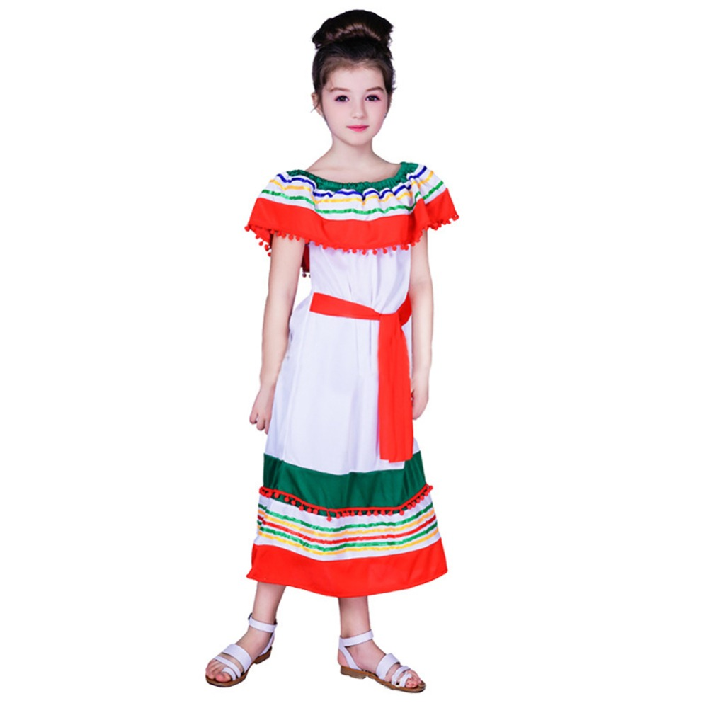 Girls Traditional Mexicon Clothing Halloween Party Dresses Daily Outfit Summer Off Shoulder Long Dress