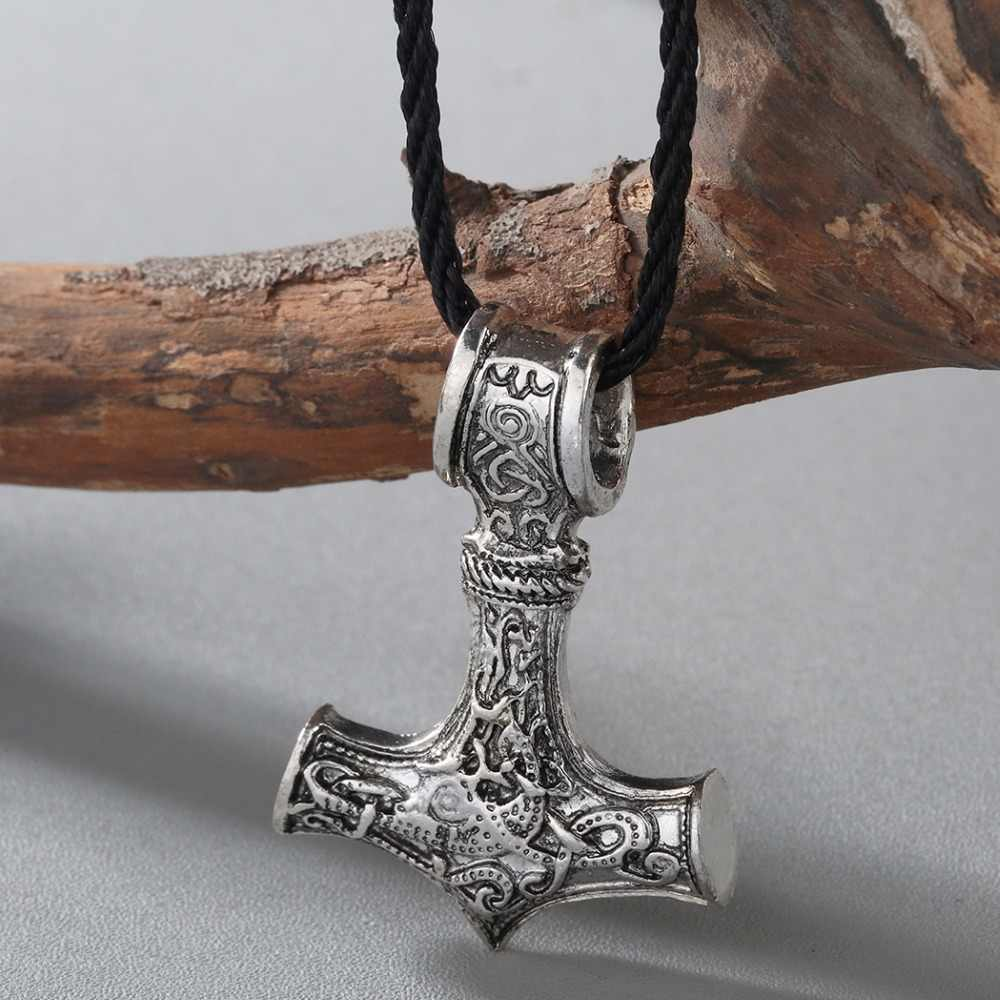 Chengxun viking odin machado cabeça thors martelo mjolnir pingente colar nórdico jóias estilo punk escandinavo para o presente do namorado