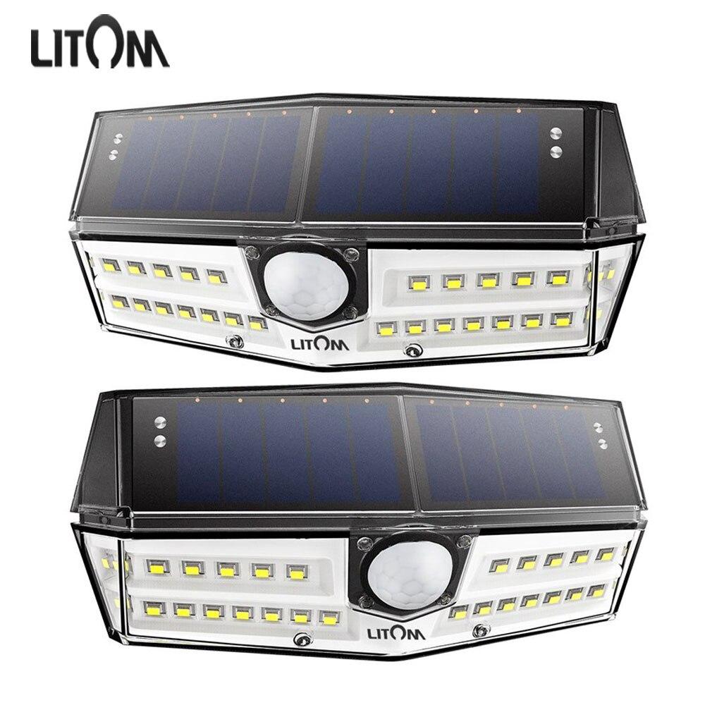 2 Pack Litom 30 Led Solar Light Wall Lamp Outdoor Garden